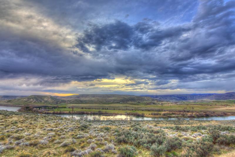Looking out over the Snake River at sunset in Idaho