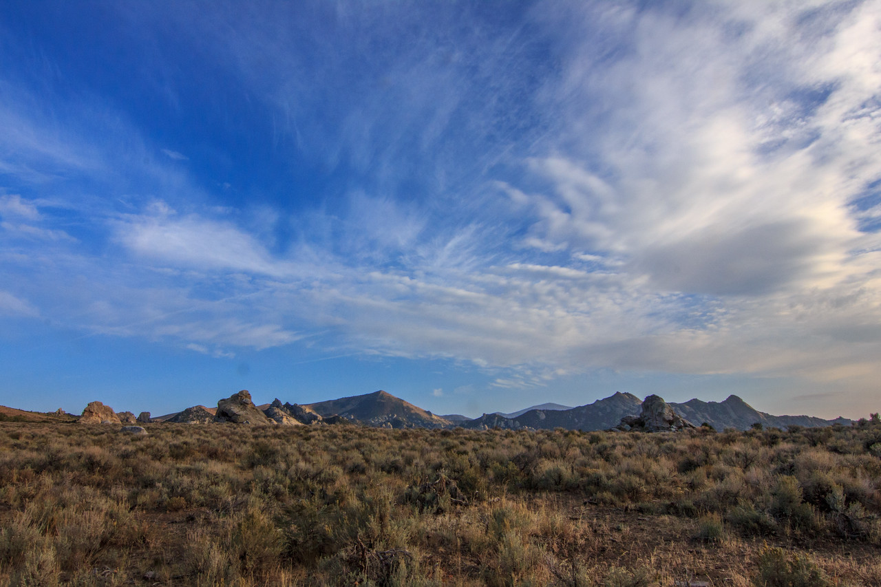 Sweeping clouds in the City of Rocks.
