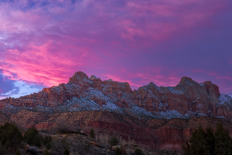 Sunset over The West Temple Zion
