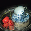 Two Teacups on a Tray with Two Tulips