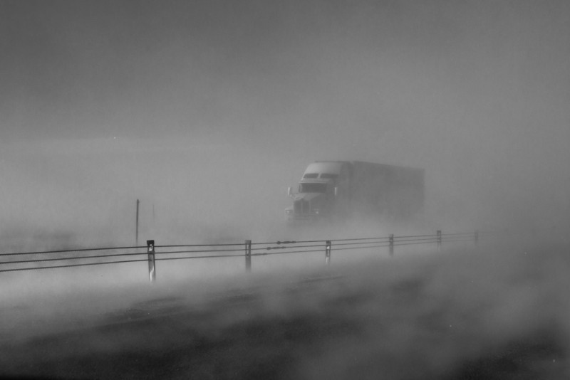 Truck Appearing from the Snow