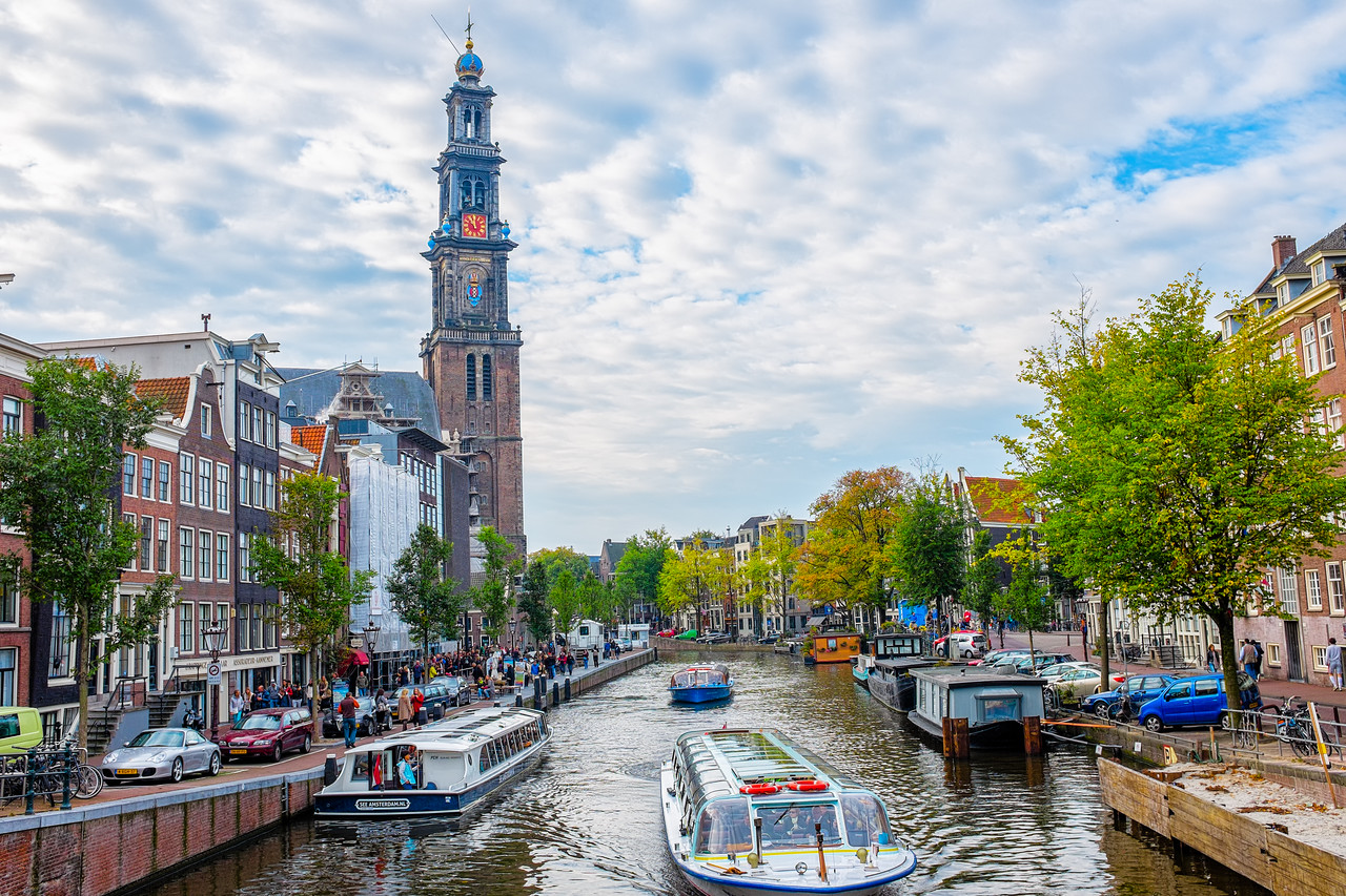 Canal By Westerkerk and Anne Frank's House