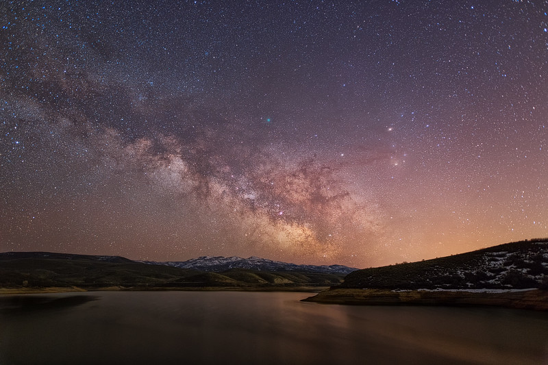 Milky Way and Comet Over East Canyon Reservoir
