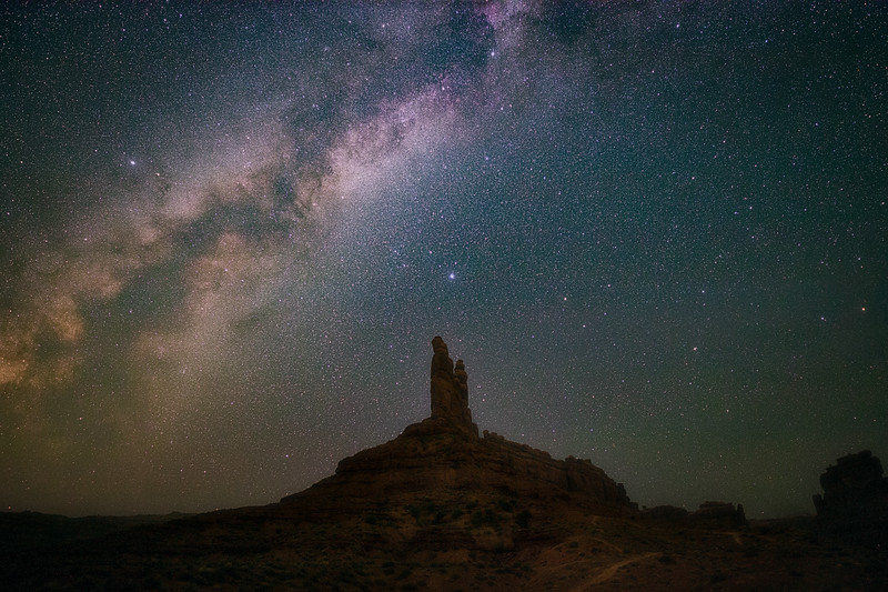 Milky Way over Rock Formation in Valley of the Gods
