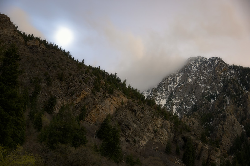 Moon and Clouds over Storm Mountain