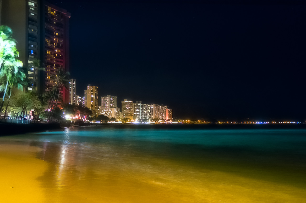 Waikiki Bay at Night