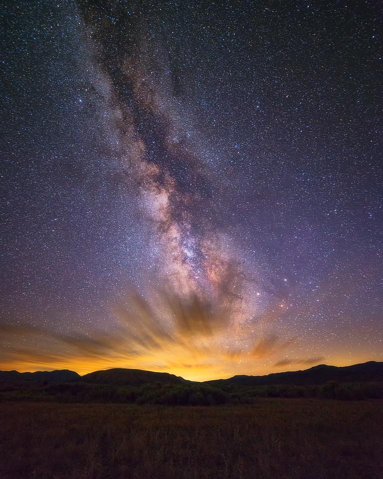 Vertical Milky Way over Clouds