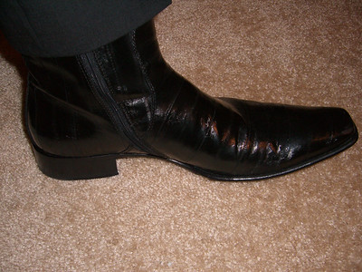 Daddy's fancy eel leather boots..