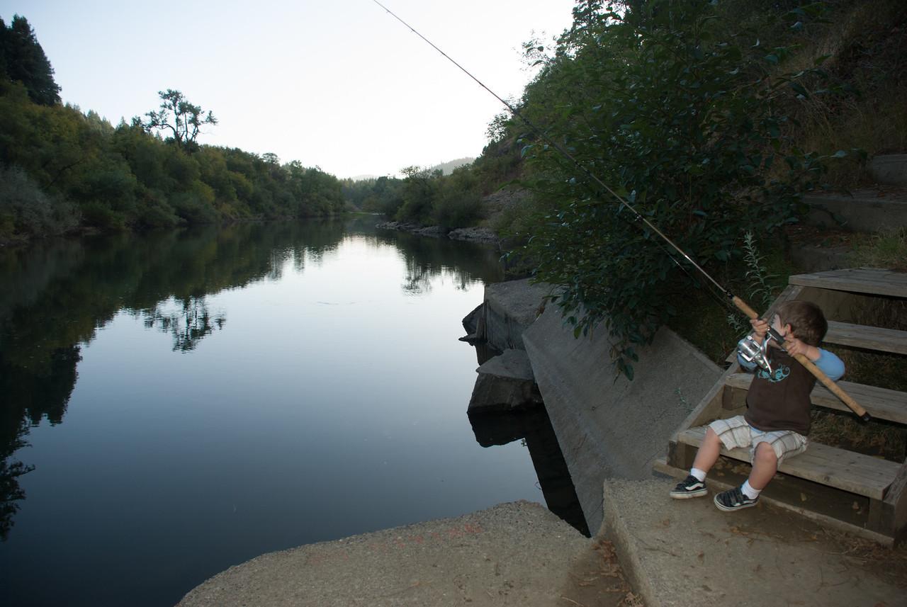 Not long till he catches fish
