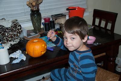 Lucas the scary pumpkin carver