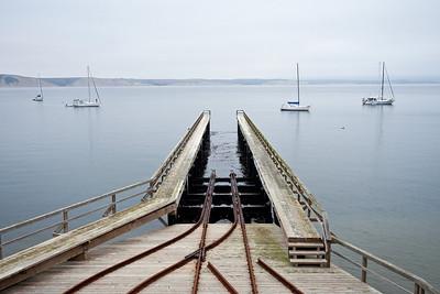 Boat ramp and sailboats at Pt. Reyes