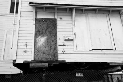 Old house with mailbox being moved on Mare Island