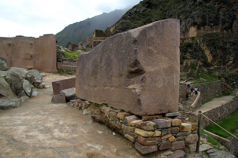 """Ollantaytambo. This is a """"Lazy Stone,"""" a building stone left in place when Manco's rebellion started."""