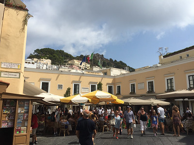 The always bustling Piazzetta in the center of Capri Town. We never miss an opportunity to sit, grab a cold drink, and people watch.