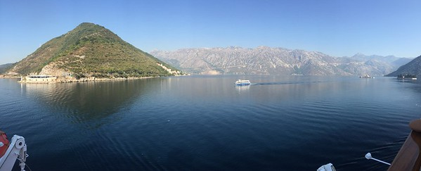 Sailing into the Bay of Kotor (Montenegro).