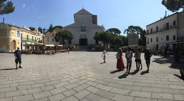 Piazza Centrale and the Duomo Ravello in the town of Ravello. Great town, often missed because it's above the Amalfi Coast and not on it. Check it out!