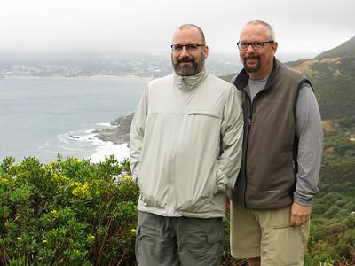 Joe and Ed at Chapman's Peak, on the coast near Cape of Good Hope.