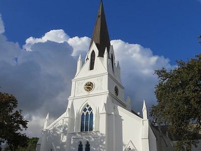 Wine country south of Cape Town. Dutch Reformed Church in Stellenbosch, South Africa