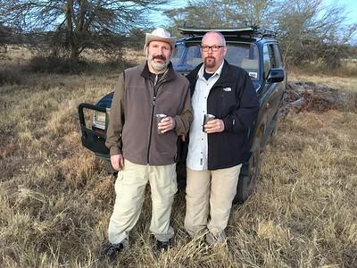 Joe and Ed ... toasting our last night in Lewa.