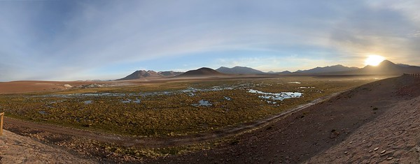 A beautiful view on our way to the Tatio Geysers. (Yes, that's the sunrise -- early start today!)