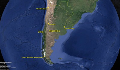 In 2018, we traveled to Chile and Argentina. We started in northern Chile in the Atacama Desert, then traveled by air (and a 6 hour drive) to Torres del Paine National Park. Our next stops were Buenos Aires where we experienced Argentinian culture, and Mendoza where we toured some terrific wineries.