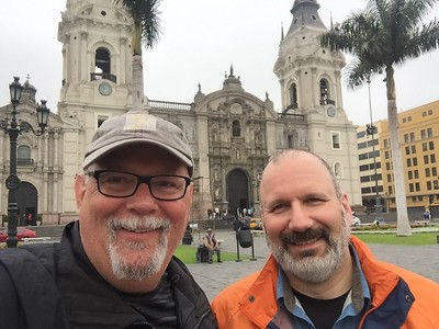 We've arrived in Lima, Peru! Here we are in front of the Cathedral de Lima.