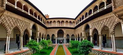 An inner courtyard in the Real Alcazar de Sevilla (Seville, Spain)