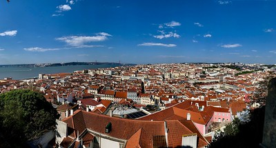 View of historic center of Lisbon from the walls of Castelo Sao Jorge
