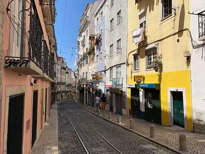 Navigating the narrow streets of the Alfama district in the historic center of Lisbon