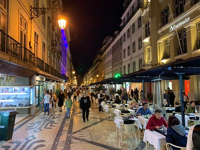 Night time in the Bairro Alto district in the historic center of Lisbon