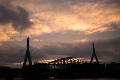 Zakim Bunker Hill Bridge Sunset