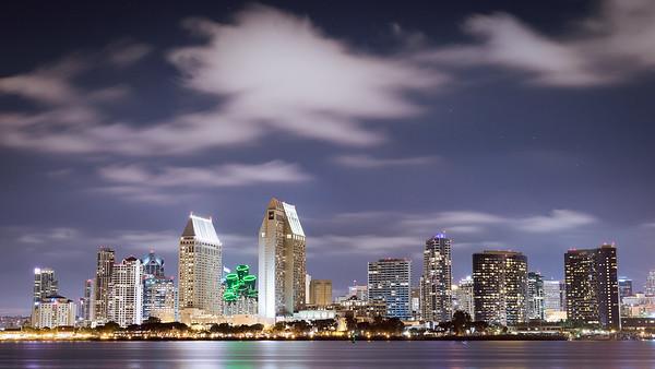 San Diego Skyline from Corona del Mar at Night