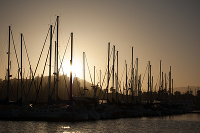 Boats on Wharf at Sunset