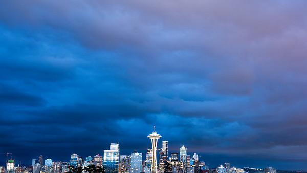 Seattle Skyline in Storm