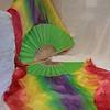 $90 Flutter 36x36 Dbl Horizontal Rainbow/Vivid Green Hand