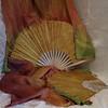 $90 Flutter 36x36 Moss & Roses - Gold Hands