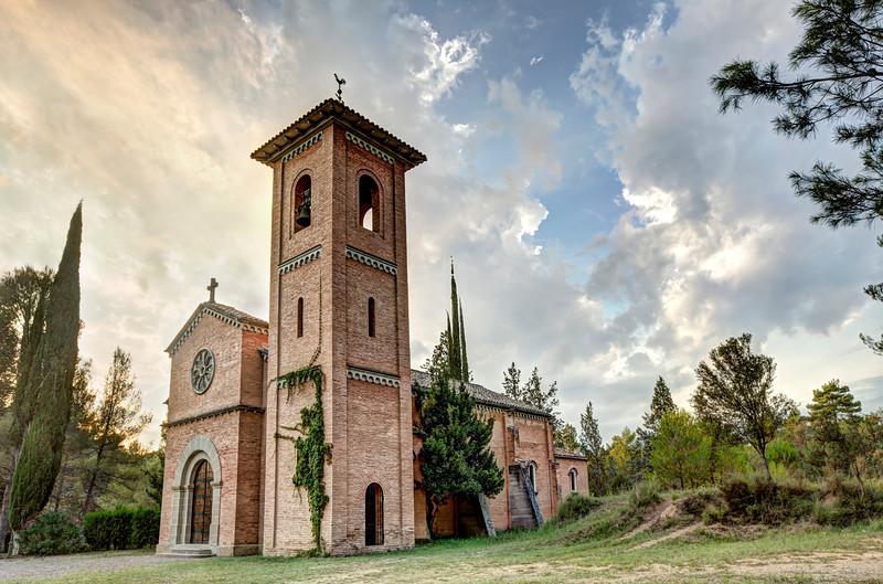Sunset On 'Sant Pere de Viladecavalls' Church