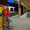 Telefonsnak på banegården i Filisur, Schweiz
