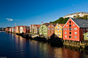 Trondheim, wooden buildings at the Nidelven river