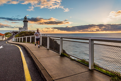 View of Cape Byron Lighthouse at sunrise.