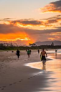 Sunset at Byron Bay main beach.