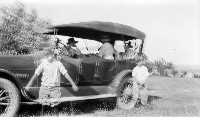 #91 George A Stebbins (double exposure) with car  at Evaline Orchard