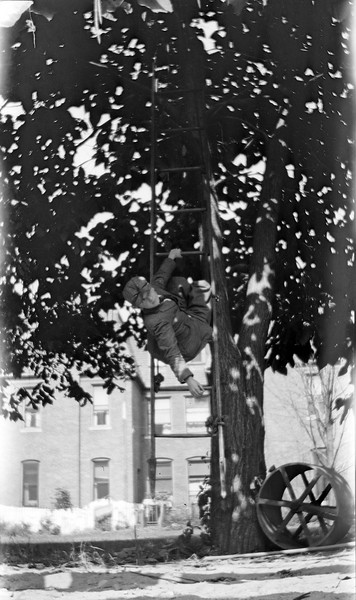 #111 George Arthur Stebbins on our ladder tied up in a tree