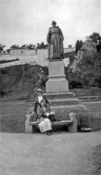 Father Marquette's Statue at Fourt Mackinaw with Pearl & Zella 1917