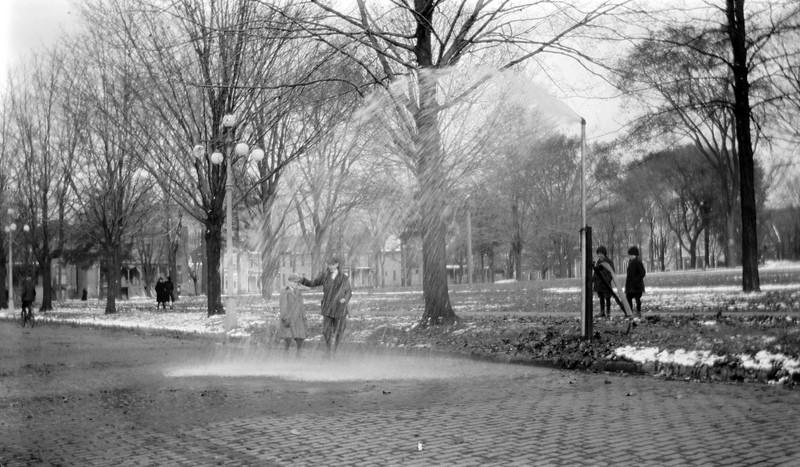 #106 George Stebbins GAS & Ted Hackett in burst Sprinkler on N Walnut St  Lansing  1917 in CRS'a Book #1