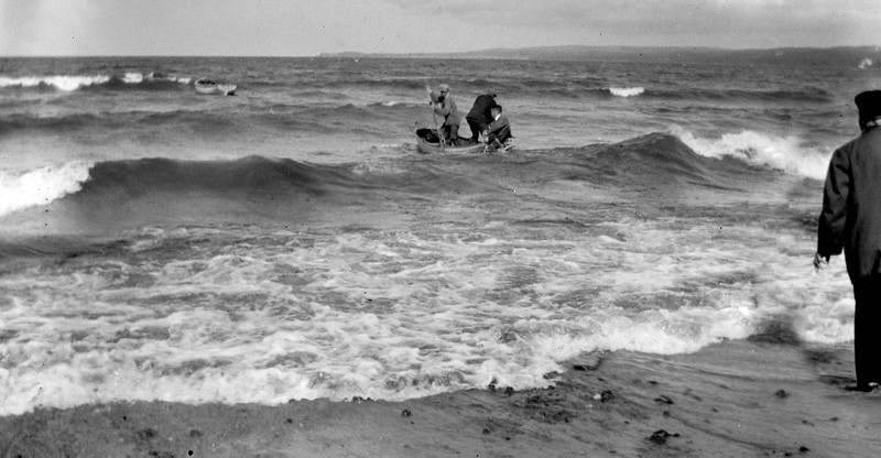 #76 Trying to get to the Gee Whiz in a big storm  - Rowland  Vic Porter  & Dr Brant at Menonaqua 1917