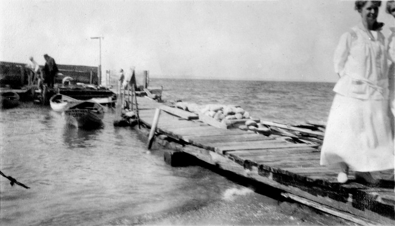 Pattengill's dock Anna B Stebbins in forground 1917 from photo