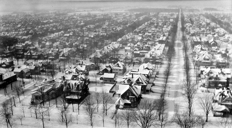 #112 View from Lansing Capitol Dome - looking West December 1917
