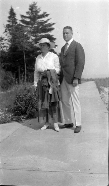#47b Marie & Stowell Stebbins on Roaring Brook sidewalk 1916 in CRS'a Book #1
