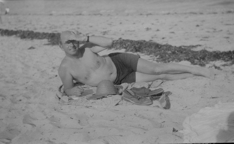 #1 Rowland Stebbins on the beach 2 April'50
